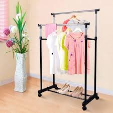 Double Coat Rack Adjustable Portable Clothes Coat Hanging Rail Stand On Wheel Double 39