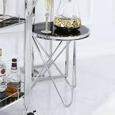 colton contemporary stainless steel and black glass end side table