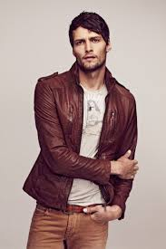 andrew marcout of stock how to wear brown leather er jacket grey print crew neck t