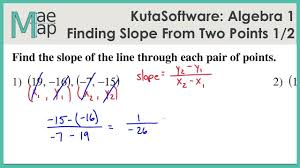 kuta algebra 1 finding slope from two points part 1