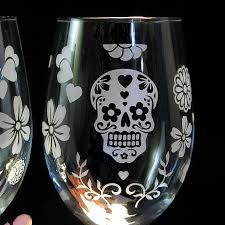day of the dead wine glasses dia de los muertos wine glasses skull decor