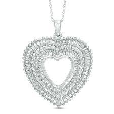 t w diamond open triple heart pendant in 10k white gold