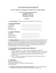 Syllabus Sample Template A Pst Course Syllabus Template This Is A Template For