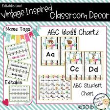Vintage Wall Chart Classroom Vintage Decor Abc Wall Charts Desk Charts Name Tags
