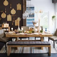 rectangular wood table with clear natural lines for a modern dining room four modern dining chairs