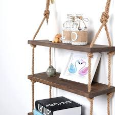 decorative wall hanging shelf 3 tier distressed wood jute rope floating shelves rustic home decor bookshelf hanging wall bookshelf