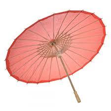 Japanese Style Nylon Umbrella Parasol (Red)