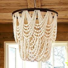 amelia indoor or outdoor ivory wood bead chandelier