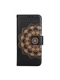 wkae half flowers embossed pattern premium pu leather wallet pouch case with kickstand lanyard and card slots for samsung galaxy s8 black