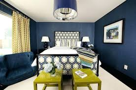 navy blue bedroom and grey curtains