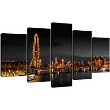 extra large canvas pictures living room landscape 160cm x 75cm 5186 display gallery item 1 extra large 5 piece city canvas art 5186 on 5 panel wall art uk with london eye canvas prints uk night for your living room set of five