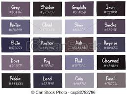 Grey Tone Color Shade Background With Code And Name Vector