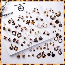 3*Korean Fashion Sexy <b>Leopard Earrings</b> Collection <b>Exaggerated</b> ...