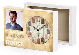 husband photo canvas gift clock