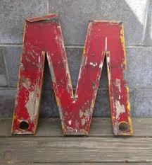 vintage old large metal neon letter m