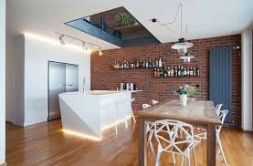 Red Brick Tiles Kitchen Kitchen Brick Wall Tiles With Dark Wood Floating Shelves And Using