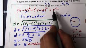 finding the equation of a circle given the center and a point on the circle