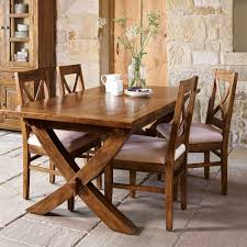 Large Farmhouse Kitchen Table Farmhouse Style Mango Wood X Leg Extending Dining Table And 4 Chairs