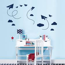 sky paper planes and clouds wall art sticker set