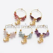 natural gemstone beads wine glass charms with tibetan style pendants and brass rings hoop earrings 00m6m6