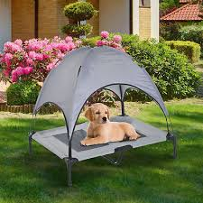 elevated pet bed w canopy outdoor covered raised dog cot carrying bag