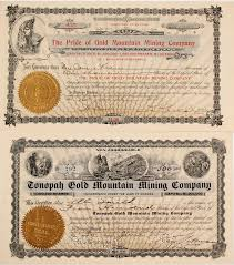 Stock Certificats Two Different Gold Mountain Mining Stock Certificates Divide
