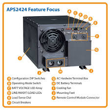 tripp lite aps2424 inverter charger 2400w 24v dc to 120v ac 14a click here for a larger image