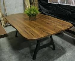 rounded corners table live edge hickory table with rounded corners on industal legs with turnbuckle rounded