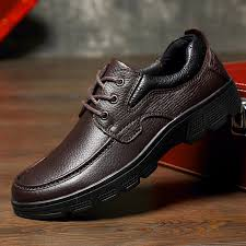men genuine cow leather moc toe lace up outdoor slip resistant shoes newchic