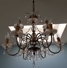 12 arm crystal chandelier from the 1950s