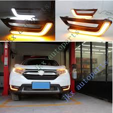 Drl Light Honda Crv Details About 2x Deluxe White Yellow Led Drl Lights Fog Lamp Turn Signal For Honda Crv 17 18