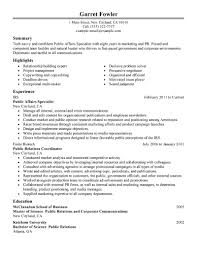 public relations resume objective public affairs specialist gallery of public relation officer resume