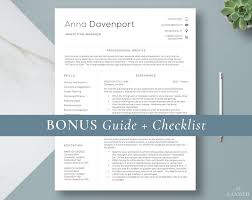 Modern Cv Template Clean Resume Template For Word Minimalist Resume For Mac Simple Resume Professional Resume Template Instant Download