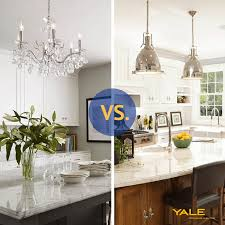 pendant lighting vs chandeliers over a kitchen island