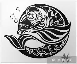 Plakát Znamení Zvěrokruhu Ryby Tetování Design