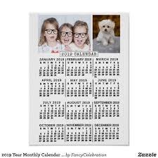 2019 Year Monthly Calendar White Custom Photos Poster