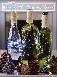 diy lighted wine bottle holiday decor centerpiece