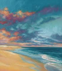 under a painted sky oil on canvas 16 inches x 14 inches by lucie bilodeau an painting of a beautiful beach in wellfleet cape cod