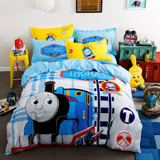 home textile cartoon 100 cotton thomas train 4pcs bedding set duvet cover sheet without filler