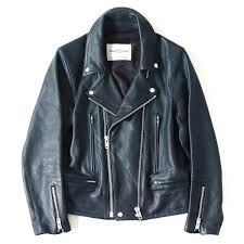 undercover under cover 15s s double zip cow leather riders jacket navy 1