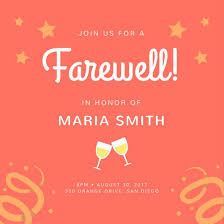 orange stars farewell party invitation