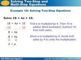 holt mcdougal algebra 1 solving two step and multi step equations solve 18