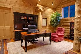 home office cabin. Log Cabin Homes Office With Desk And Chair In Home, Home Office, Homes, O