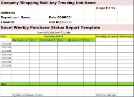 Excel Weekly Purchases Status Report Template Free Report