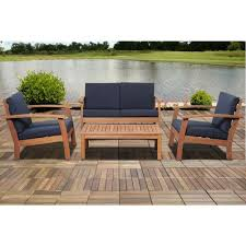 ia giles 4 piece eucalyptus patio deep seating set with blue cushion