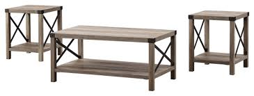 3 piece rustic wood metal accent