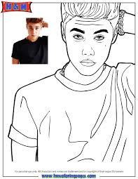 Small Picture Singer Justin Bieber Looking Confused Coloring Page H M