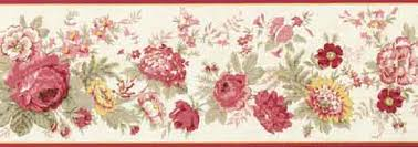 Flower Wall Paper Border Mixed Flower Floral Red Yellow Pink Wallpaper Border 5507100