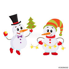 two snowmen holding a christmas tree