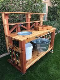potting bench with water spigot cedar